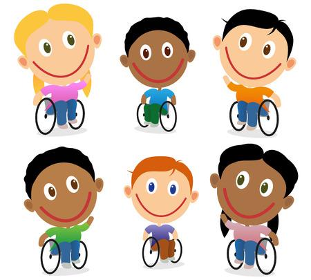 Niños felices para discapacitados en silla de ruedas. Personajes de dibujos animados aislado en blanco. Niños y niñas multirraciales.