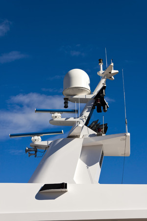 anemometer: Antennas, radar, anemometer and other communication and navigation equipment on the mast of a yacht.
