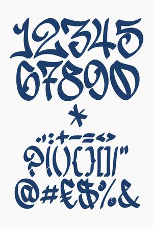 alfabeto graffiti: Numeri e simboli. Carattere vettoriale in stile graffiti scritti a mano.