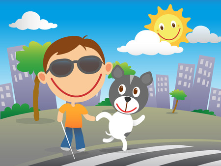 visually: Happy blind child with cane and sunglasses cross the road at a zebra crossing with his quide dog in a sunny day in the city.