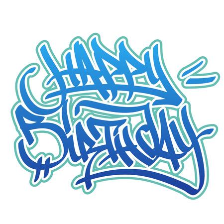 typography signature: Tarjeta del feliz cumplea�os en estilo de la pintada en colores azules sobre fondo blanco. Vectores