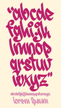 abecedario graffiti: Fuente vectorial en estilo escrito mano graffiti. Las letras minúsculas del alfabeto.