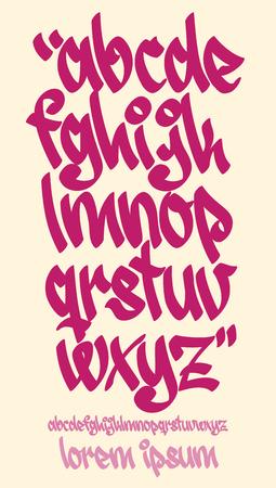 Vectorial font in graffiti hand written style. Lower case letters alphabet. Stock Illustratie