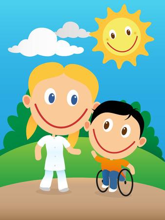 caricatura enfermera: Enfermera fisioterapeuta feliz jugando de rehabilitación con un hijo discapacitado sonriente en silla de ruedas.