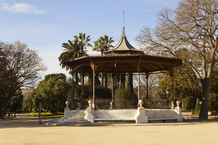 bandstand: Iron and wood music kiosk in the Ciutadella Park in Barcelona, Catalonia, Spain. Stock Photo