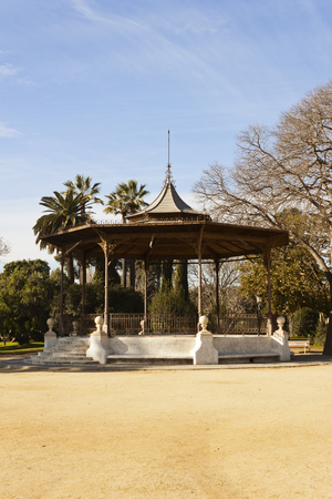 bandstand: Iron and wood bandstand in the Ciutadella Park in Barcelona, Catalonia, Spain. Stock Photo