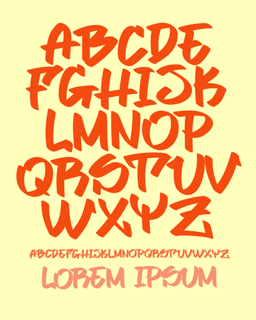 Vectorial font in readable graffiti hand written style. Marker or brush effect. Capital letters alphabet.