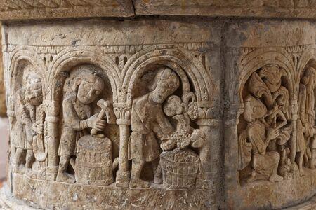 sculpted: Ancient medieval sculpted crafts stone water well in Roc de Sant Gaieta, Tarragona, Spain. Stock Photo