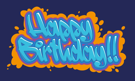 Happy birthday congratulation card. Readable graffiti style in blue and vibrant colors. 向量圖像