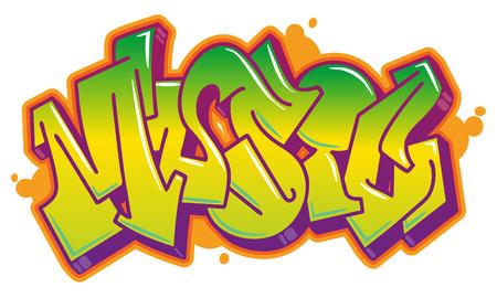 Mot de la musique en style graffiti lisible dans des couleurs vives. Couleurs entièrement personnalisables. Banque d'images - 77133389