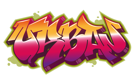 Urban word in readable graffiti style in vibrant customizable colors.