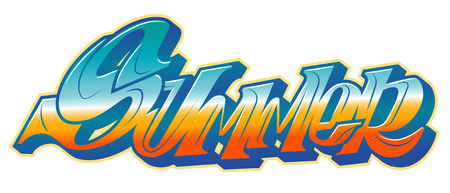 Summer word in readable graffiti style in vibrant customizable colors.
