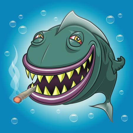 Smiling happy cartoon fish with red eyes smoking marijuana underwater. Vectorial illustration. Ilustração
