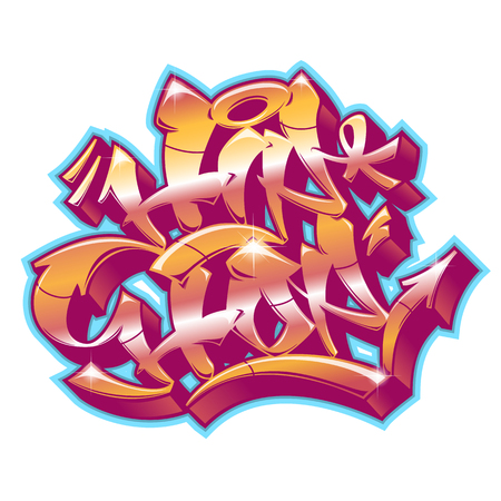 Hip-Hop word in readable graffiti style in vibrant customizable colors isolated on white background.