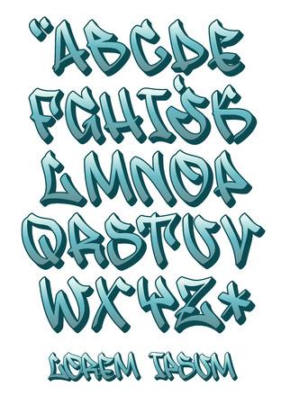 Vectorial czcionki w graffiti ręcznie napisane w stylu 3D. Alfabet litery alfabetu.