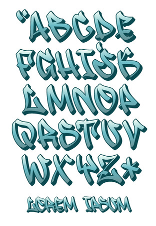 Vectorial font in graffiti hand written 3D style. Capital letters alphabet.