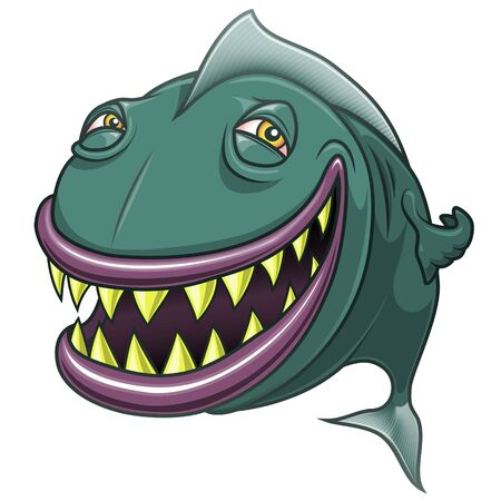 Smiling happy cartoon fish. Funny vectorial illustration. Isolated on white background.