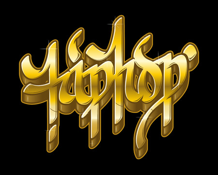 Hip-Hop word in graffiti style in metal golden colors. Gold text vector isolated on black background. Illustration
