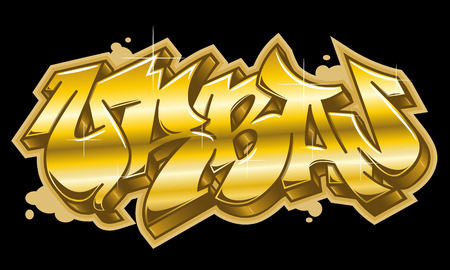Urban word in readable graffiti style in golden colors. Isolated on black background.