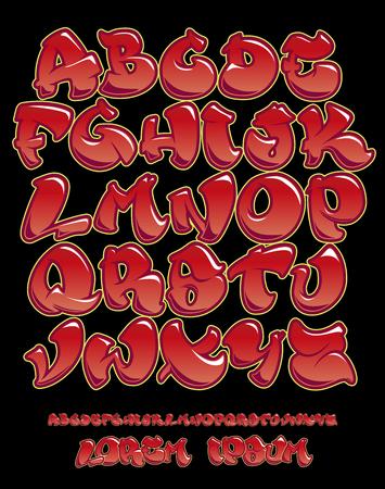 Police vectorielle en style graffiti écrit à la main. Alphabet de lettres majuscules. Couleurs entièrement personnalisables.