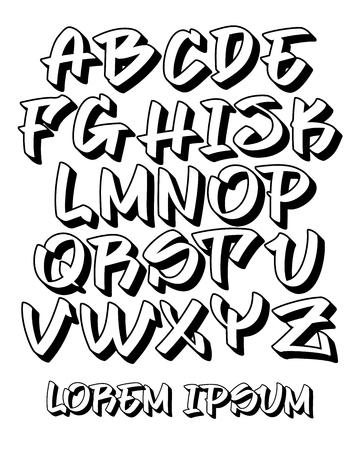 Police vectorielle dans un style 3D écrit à la main graffiti lisible. Alphabet de lettres majuscules. Couleurs personnalisables.