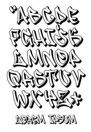 Vectorial font in graffiti hand written 3D style. Capital letters alphabet.