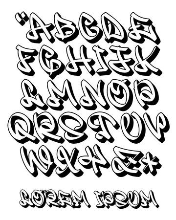 Czcionka wektorowa w graffiti odręczny styl 3D. Alfabet wielkich liter. Na białym tle.