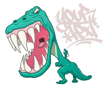 Un tyrannosaurus rex en colère rugissant et écrivant des graffitis en style cartoon. Isolé sur blanc avec un espace pour placer du texte. Vecteurs