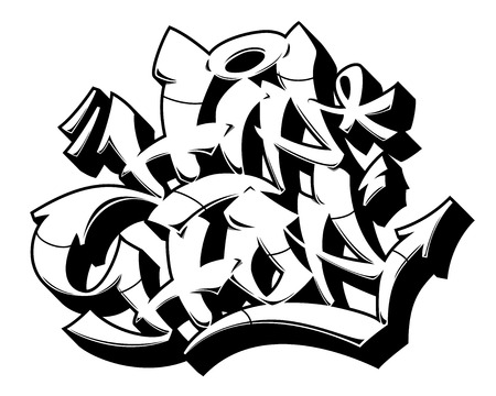 Hip-Hop word in readable graffiti style. Only black line isolated on white background.