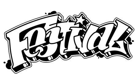 Festival vector word in readable graffiti style. Only black line isolated on white background.