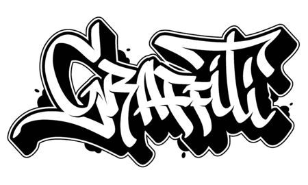 Graffiti vector word in readable graffiti style. Only black line isolated on white background. Illustration