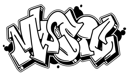 Music vector word in readable graffiti style. Only black line isolated on white background. Illustration