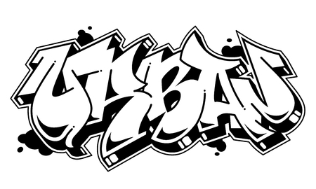 Urban vector word in readable graffiti style. Only black line isolated on white background.