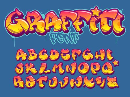 Vector font in old school graffiti style. Capital letters alphabet. Fully customizable colors. Stock Illustratie