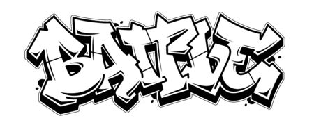Battle word in readable graffiti style. Black line isolated on white background. Иллюстрация