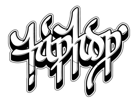 Hip-Hop word in graffiti style. Black line isolated on white background.