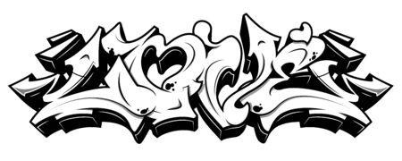 Love word in readable graffiti style. Black line isolated on white background