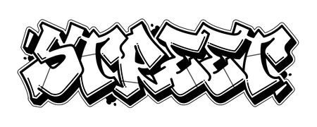 Street word in readable graffiti style. Black line isolated on white background. Иллюстрация