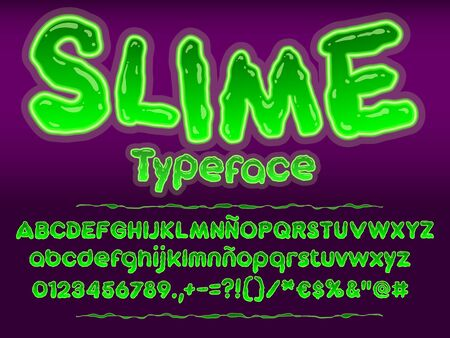 Green glowing toxic slime font. Halloween letters illustration. Vector alphabet with numbers and glyphs.