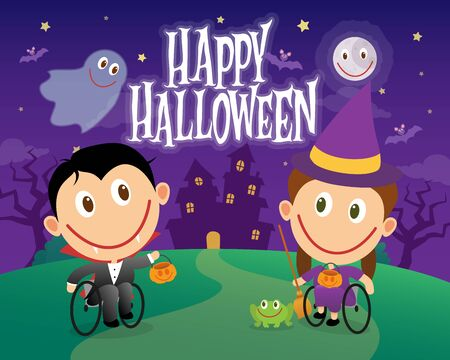 Whellchair children on halloween costumes. Disabled children dressed as vampire and witch. Vector illustration Ilustrace