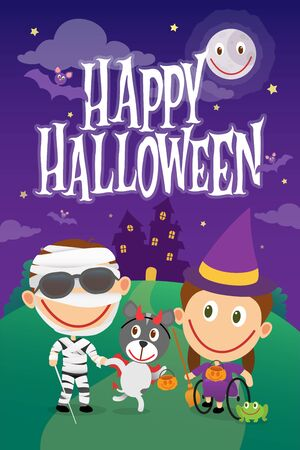 Blind boy and wheelchair girl on halloween costumes. Disabled children dressed as mummy and witch. Vector illustration