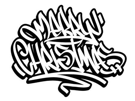 Merry Christmas lettering in graffiti style. Black outline isolated on white background.