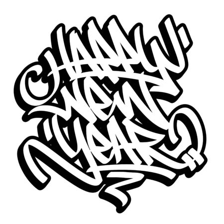 Happy New Year lettering in graffiti style. Black outline isolated on white background.