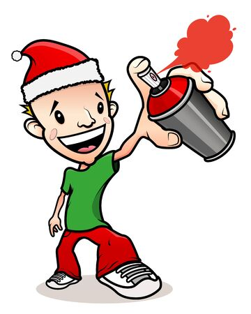 Christmas Santa Claus hat cartoon graffiti writer character, smiling with a paint aerosol on the hand. Isolated on white.