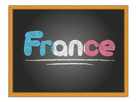 France country name and flag color chalk lettering on black chalkboard