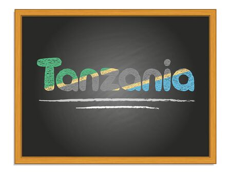 Tanzania country name and flag color chalk lettering on black chalkboard