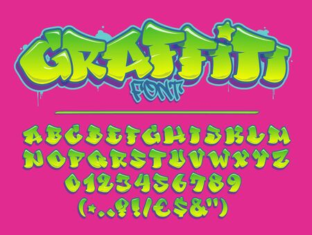 Lime graffiti vector font. Capital letters, numbers and glyps alphabet. Fully customizable colors. Çizim