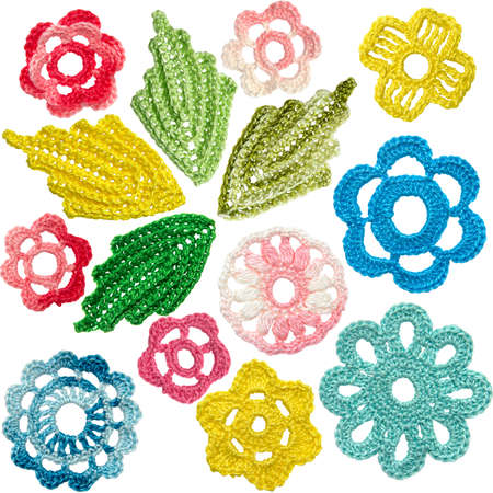 Set of crocheted flowers and leaves in the style of Irish lace Stock Photo