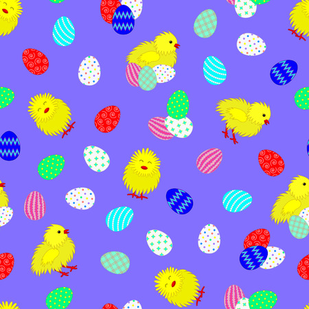 Bright seamless pattern with Easter eggs and chickens. Lilac background. Chaotic location of objects. Easter theme. Vector illustration. Illustration