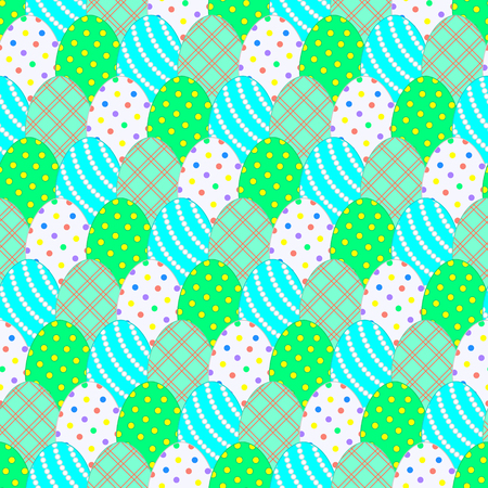 Seamless pattern with Easter eggs in pastel colors. Green and blue colors and their shades. Pattern with superimposition of objects. Easter theme. Vector illustration. Illustration